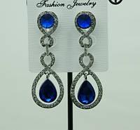 713 Синие женские серьги с синими кристаллами. Праздничные серьги капли оптом.