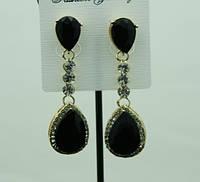 717 Праздничные черные сережки капли с черными кристаллами каплями. Праздничные серьги оптом RRR в Украине.