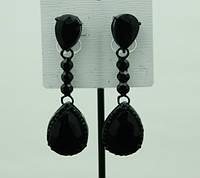 719 Праздничные серьги- сережки капли с черными камнями каплями. Праздничные серьги оптом RRR в Украине.