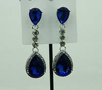 720 Праздничные сережки капли с синими камнями каплями. Праздничные классические серьги в Украине.