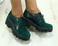 Туфли замшевые с лаковыми вставками, зеленые