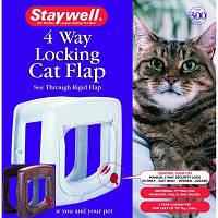Staywell дверцы для котов до 7кг, с механическим замком, белый