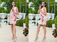 Платье женское короткое льняное без рукавов с вышивкой P6379