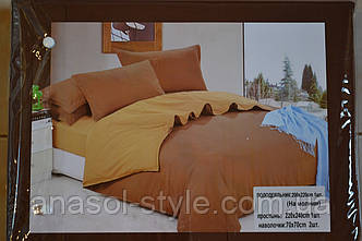 Постельный комплект двуспальный коричневый беж