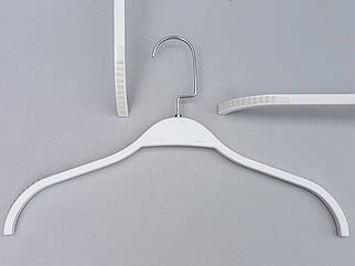 Плічка вішалки тремпеля LT903 глянцевий білого кольору, довжина 38 см