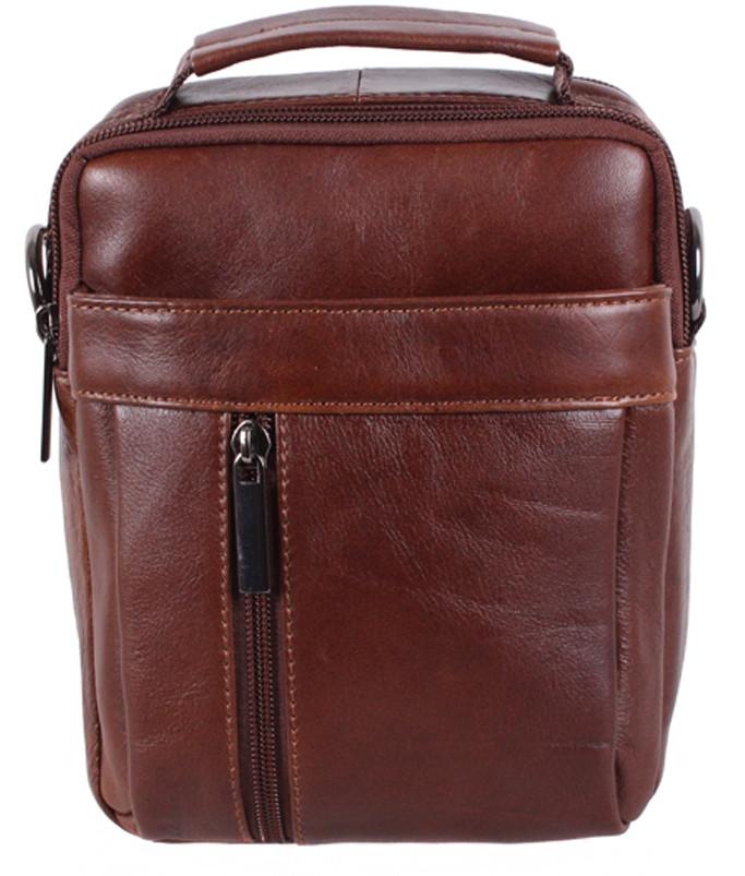 Стильная мужская кожаная сумка BR9354 коричневая