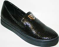 Cлипоны женские кожаные Olli черная фасоль от магазина tufli.in.ua 099-4196944