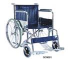 KY 873  46cm стальная инвалидная коляска с хром. покрытием, кожвинил, фиксированные подножки и подлок.