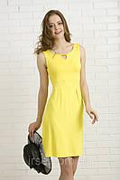 Повседневное летнее платье желтого цвета из вискозы без рукава. Модель 328 Mirabelle.