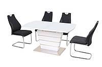 Стол обеденный МДФ+стекло ТМ-55, белый/белый, фото 1