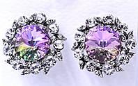 Серьги с кристаллами Swarovski. Цвет металла: серебряный. Диаметр серьги  19 мм. Итальянская застёжка.