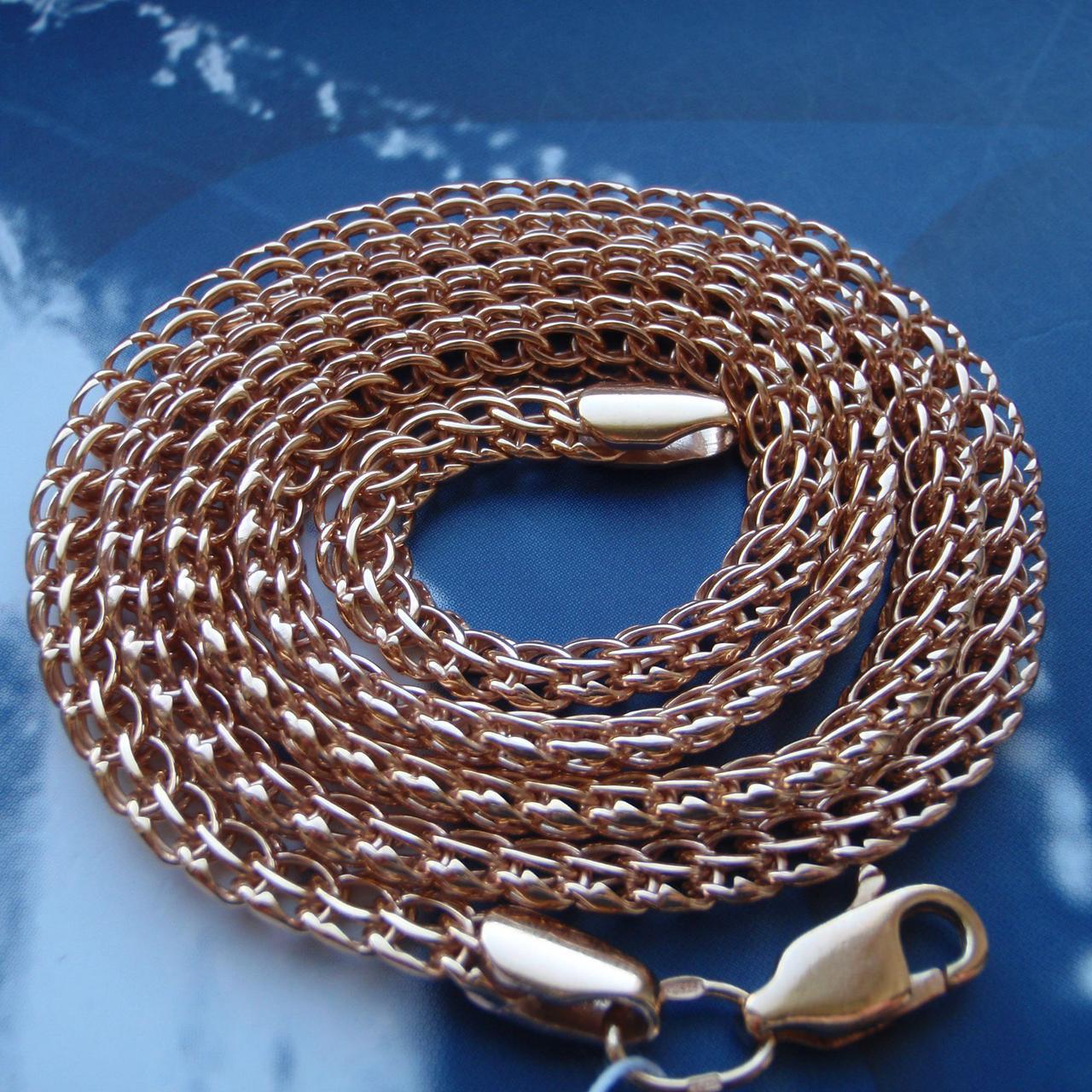 Серебряная позолоченная цепочка, 550мм, 25 грамм, плетение Питон