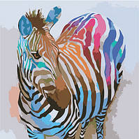 Рисование по цифрам Идейка Зебра в стиле поп-арт (KHO2463) 40 х 40 см (без коробки)