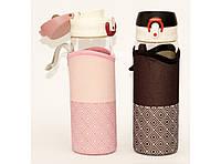 Бутылка с поилкой (стекло) 550 мл + чехол