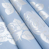 Тик наперниковый Роза голубая на метраж (синтетический, но хороший)