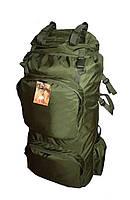 Туристический экспедиционный большой крепкий рюкзак на 90 литров олива. Туризм, охота, рыбалка, спорт.