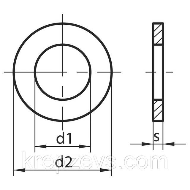 Схема габаритных и присоединительных размеров шайбы DIN 988