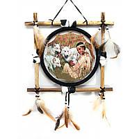 Декоративное панно на стену Девушка с волками