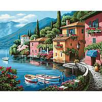 """Картины по номерам / коробка.Міський пейзаж """"Ранок на березі озера"""" 40х50см КН103"""