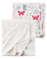 Комплект из 2-х хлопковых пеленок Зверюшки Розовый Carter's