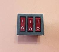 Кнопка вкл / выкл тройная ( узкая ) 16А / 250V / T125 (со светодиодом)     Турция