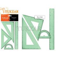 Набір лінійок TUKZAR 341 на 4 предмета (лінійка 30см, транспортир, 2 трикутника)