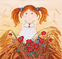 Схема для вышивки бисером T-0206 Девочка в пшенице