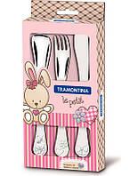 Набор столовых приборов для детей 3 предмета розовый