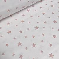 """Лоскуток. Ткань хлопковая """"Розовый звездопад"""" на белом 240 см   47*240 № WH-01"""