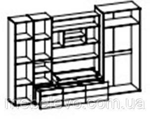 Гостиная  Гламур 1980х3000х570мм    Мебель-Сервис, фото 2