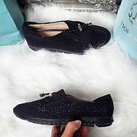 Женские черные замшевые мокасины с камнями код 289