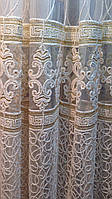 Тюль Королевская лилия бархатная нить. Белая с золотом