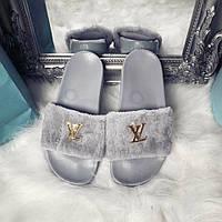 Серые тапочки Louis Vuitton/ шлепанцы очень мягкие