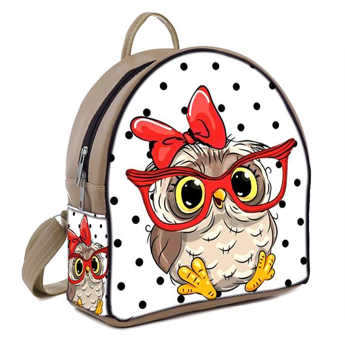 Бежевый модный городской рюкзак с принтом Сова