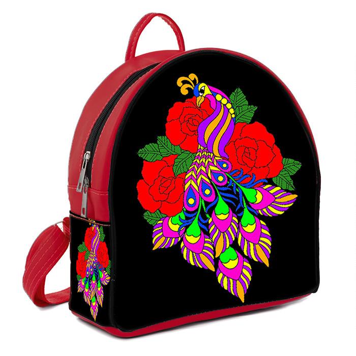 Красный городской рюкзак с рисунком Фламинго