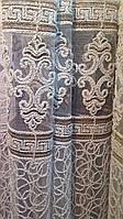 Тюль Королевская лилия бархатная нить. Белая с бронзой