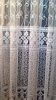 Тюль Королевская лилия бархатная нить. Белая