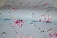 Обои бумажные, голубые,  Мару 1292, 0,53*10м