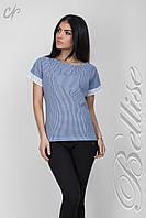 Модная летняя  блуза прямого силуэта в меленькую клеточку синего цвета, фото 1