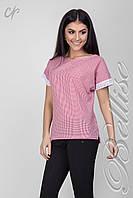 Модная   блуза прямого силуэта из качественной летней ткани красного цвета, фото 1