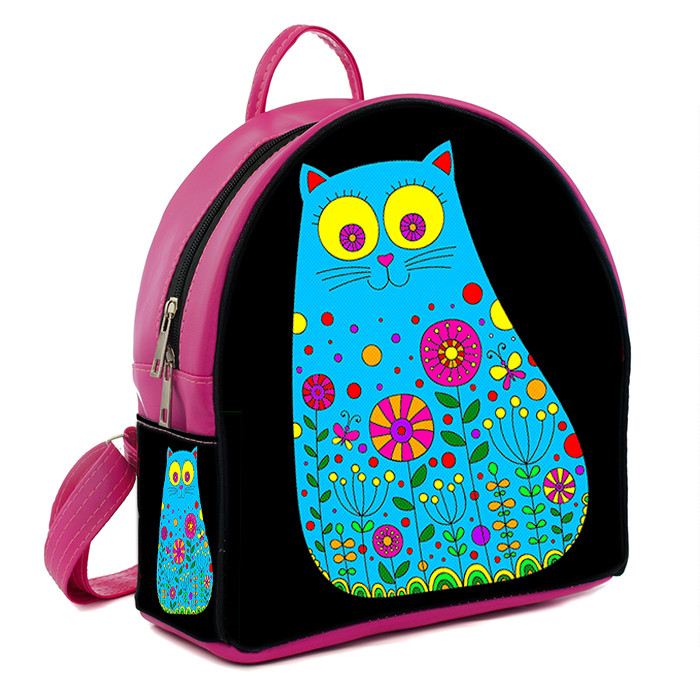 Розовый молодежный городской рюкзак с принтом Кошка