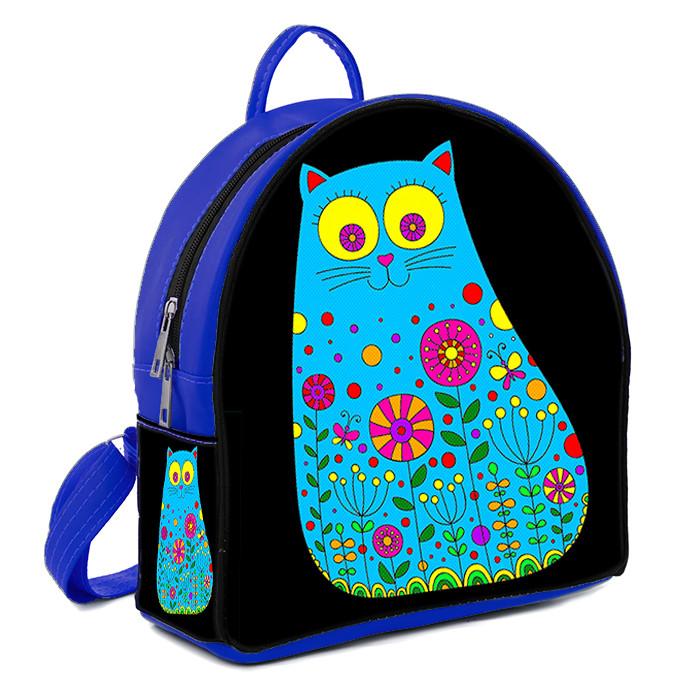 Синий молодежный городской рюкзак с принтом Кошка