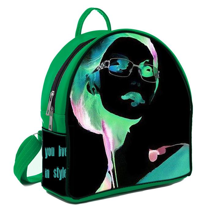 Зеленый молодежный городской рюкзак с принтом Девушка