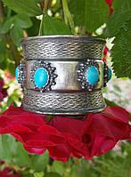 Винтажный широкий стильный большой серебрянный браслет с бирюзой высшей пробы 950