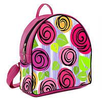 Розовый молодежный городской рюкзак с принтом Цветочная фантазия