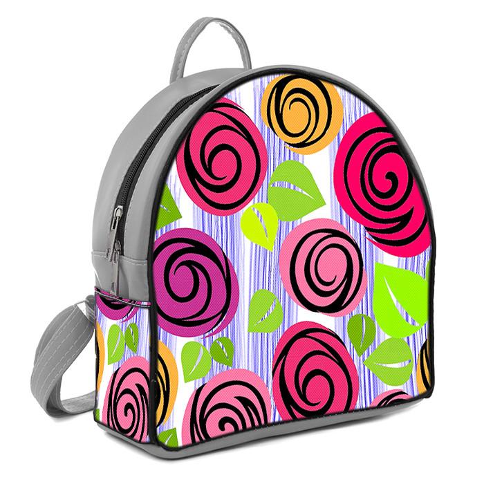 Серый молодежный городской рюкзак с принтом Цветочная фантазия