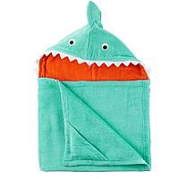 Полотенце с капюшоном Клыкастая Акула велюр-махра Carters, 127х68см