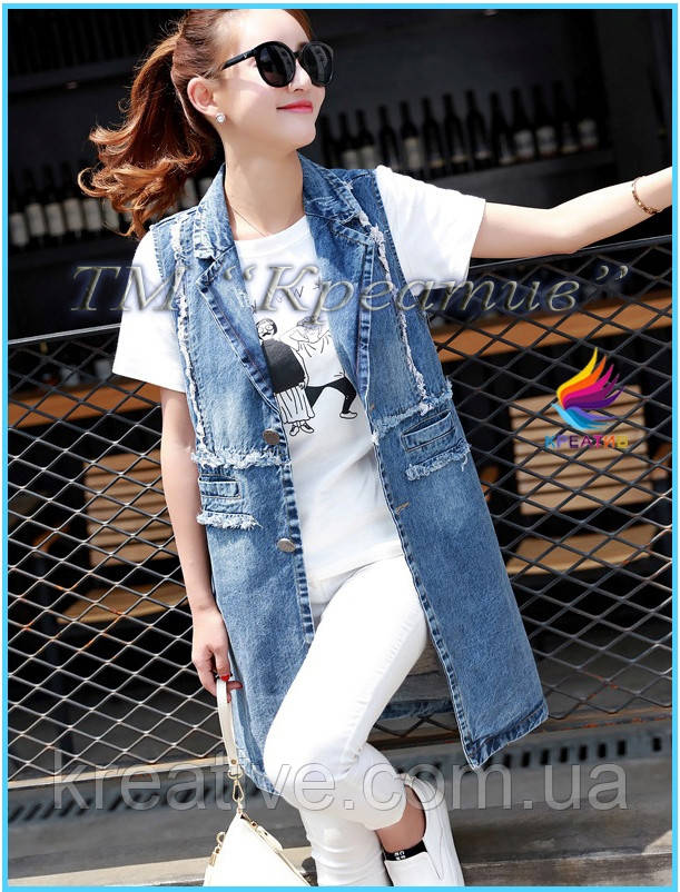 Удлиненные джинсовые жилеты (от 50 шт.)
