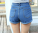 Шорты джинсовые высокая талия с отворотом (синие), фото 2