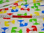 Отрез ткани 50*160 с разноцветными лисичками на белом фоне, № 815, фото 2